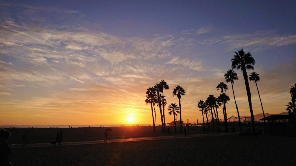 zachód słońca w Santa Monica