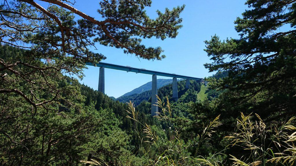 most Europabrücke widziany z lasu