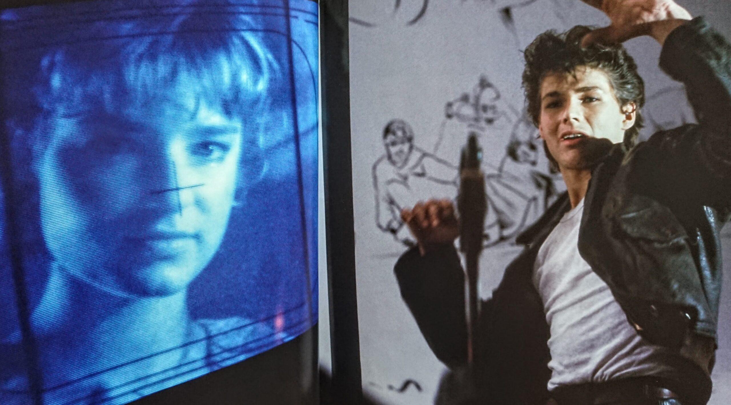Bunty Bailey i Morten Harket na planie teledysku Take On Me w reżyserii Steva Barrona